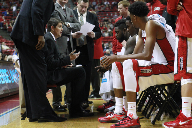 UNLV head coach Dave Rice talks to his team during a time out in their exhibition game against Florida National University Wednesday, Nov. 5, 2014 at the Thomas & Mack Center in Las Vegas. (Sam Mo ...