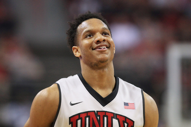 UNLV guard Rashad Vaughn smiles after a basket during the Rebels home opener against Morehead State Friday, Nov. 14, 2014 at the Thomas & Mack Center. (Sam Morris/Las Vegas Review-Journal)