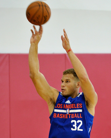Los Angeles Clippers' Blake Griffin shoots the ball during practice at NBA basketball training camp at the Mendenhall Center at UNLV on Tuesday, Sept. 30, 2014. (David Becker/Las Vegas Review-Journal)