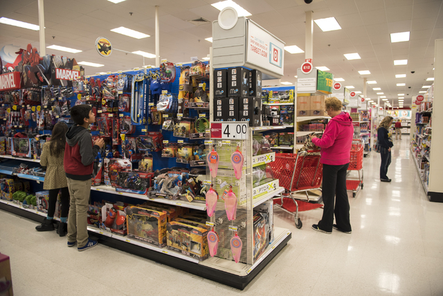 Shoppers (names not given) peruse Target on 605 N. Stephanie St. in Henderson, Nev., looking Black Friday deals on Friday Nov. 28, 2014. (Martin S. Fuentes/Las Vegas Review-Journal)
