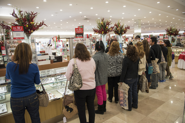 Shoppers look for Black Friday deals at Dillard's in the Galleria at Sunset mall in Henderson, Nev., on Friday Nov. 28, 2014. (Martin S. Fuentes/Las Vegas Review-Journal)