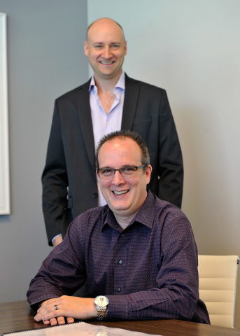 Coherent Design principles Kevin Potts, front, and David Starck appear in their Las Vegas office on Friday, Oct. 10, 2014. (David Becker/Las Vegas Review-Journal)