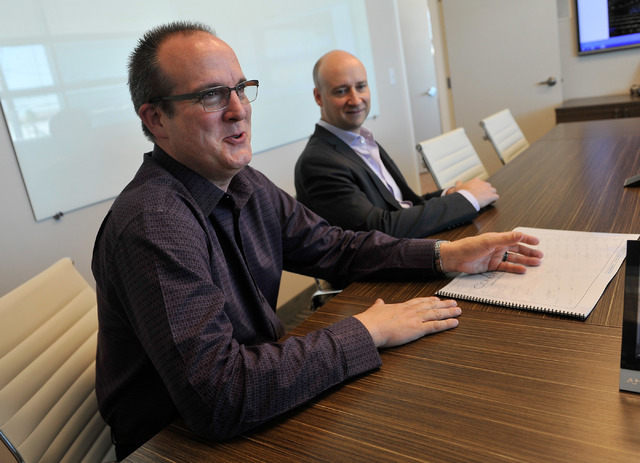 Coherent Design principles Kevin Potts, left, and David Starck appear in their Las Vegas office on Friday, Oct. 10, 2014. (David Becker/Las Vegas Review-Journal)
