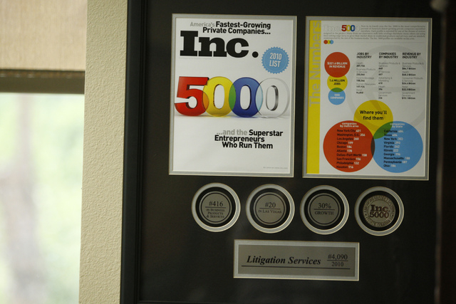 A framed issue of Inc. Magazine recognizing Litigation Services is seen inside the of office of Kenneth Campbell, CEO of Litigation Services, 3770 Howard Hughes Parkway, suite 300, in Las Vegas Tu ...