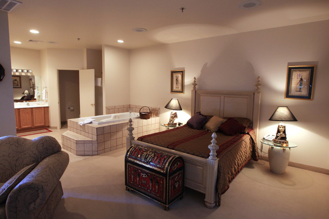 This is an Egyptian themed suite in the hotel at Sheri's Ranch brothel in Pahrump where prostitutes are not allowed Wednesday, Nov. 26, 2014. (Sam Morris/Las Vegas Review-Journal)