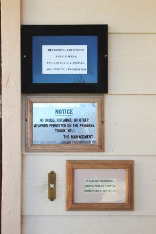 Signs direct customers at Sheri's Ranch brothel in Pahrump Wednesday, Nov. 26, 2014. (Sam Morris/Las Vegas Review-Journal)