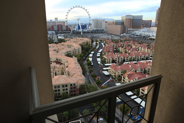 This view from a terrace of a One Hughes Center residence shows the proximity of the parking lot behind the Linq where Caesars has been holding events, Thursday, Nov. 13, 2014. (Sam Morris/Las Veg ...