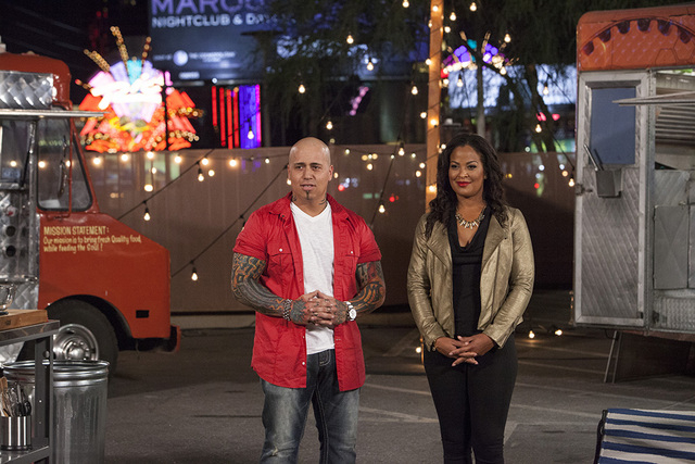 "Vic ""Vegas"" Moea and Laila Ali host ""Late Nite Chef Fight"" on FYI. (Richard Knapp/FYI)"