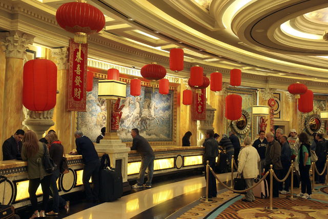 Decorations in celebration of the Chinese New Year are shown at Caesars Palace in this file photo. New visa rules will make it easier for Chinese travelers to visit the United States. (Review-Jour ...