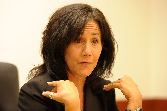 Cindy Lake speaks with the Review-Journal editorial board on Aug. 8, 2014. (Mark Damon/Las Vegas Review-Journal)