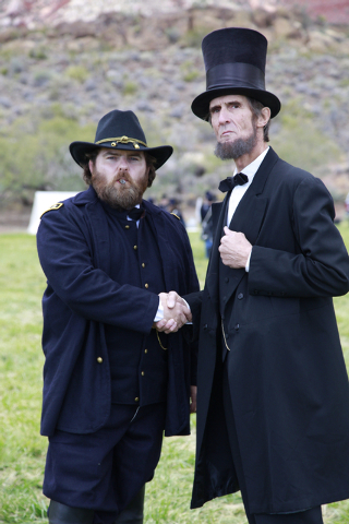"""President Lincoln (Robert Broski) and General Grant (Edward Headington) take time for a picture at the ninth annual """"Civil War Days in the Battle Born State"""" event, Spring Mountain Ranch ..."""