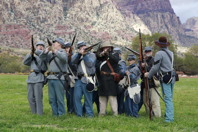 """Confederate troops performing a rifle training drill, at the ninth annual """"Civil War Days in the Battle Born State"""" event, Spring Mountain Ranch State Park, Blue Diamond, Nevada on Satur ..."""