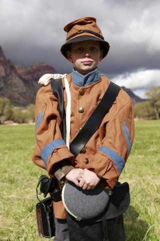 """Elijah Serviss (wearing a confederate butternut colored uniform) is a runner at the ninth annual """"Civil War Days in the Battle Born State"""" event, Spring Mountain Ranch State Park, Blue D ..."""