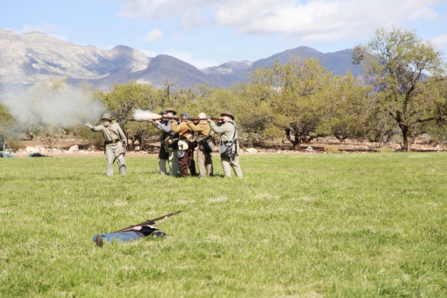 """Confederate troops take aim and fire at advancing Union troops, at the ninth annual """"Civil War Days in the Battle Born State"""" event, Spring Mountain Ranch State Park, Blue Diamond, Nevad ..."""