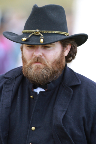 """General Grant (Edward Headington) contemplates the upcoming battle, at the ninth annual """"Civil War Days in the Battle Born State"""" event, Spring Mountain Ranch State Park, Blue Diamond, N ..."""