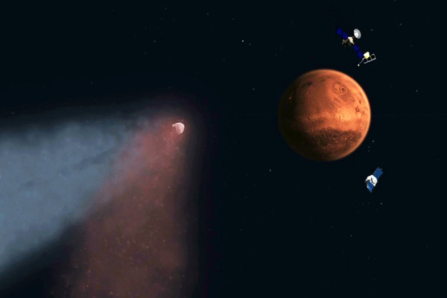 This handout artist's concept provided by NASA/JPL shows the Comet Siding Spring approaching Mars, shown with NASA's orbiters preparing to make science observations of this unique encounter. New N ...