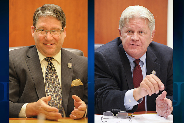 State Assemblyman and Democrat Andrew Martin of Las Vegas (L) and university system Regent and Republican Ron Knecht of Carson City (Las Vegas Review-Journal)