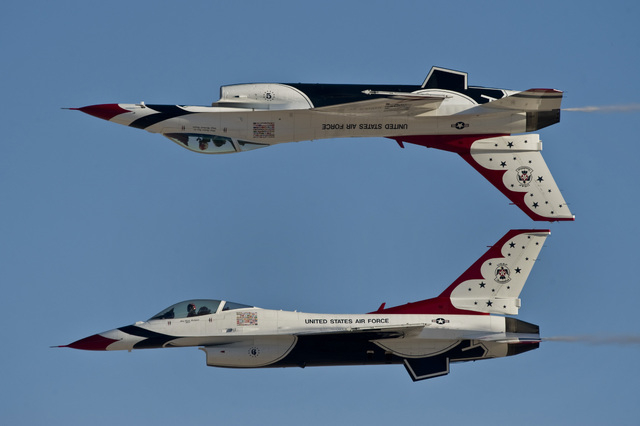 The United States Air Force Air Demonstration Squadron, Thunderbirds, demonstrate the calypso pass during Aviation Nation Nov. 11, 2012, at Nellis Air Force Base, Nev. Aviation Nation is an opport ...