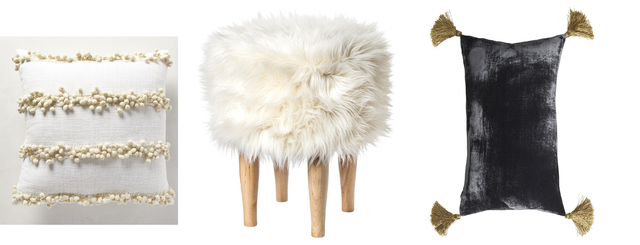 Courtesy Anthropologie/Target/H&M Home Varying textures, faux fur and warm textiles like velvet add to coziness. Examples include, from left, the Tassel Trace Pillow from Anthropologie, the Nate B ...