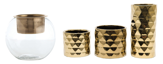 Courtesy Bliss Home & Design and Jayson Home Candles are fall standbys for good reason, casting a glow and scenting a room. Metallic can convey a sense of luxury. Examples include, left, the Ringo ...