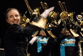 Brittney Stradling conducts the Foothill High School marching band Oct. 11 at a home football game against Basic High School in Henderson. The band is set to perform in the 88th Annual Macy's Than ...