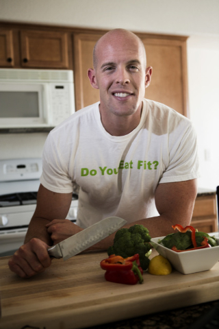 Matthew Jensen in his kitchen in northwest Las Vegas on Friday, Oct. 24, 2014. Jenso, 29, an Air Force pilot, started I EAT FIT, a website that provides free meal plans and recipes for those who w ...