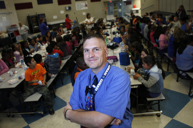 Select photo to access additional images. Lee Esplin, principal of Treem Elementary School, poses for a portrait inside the cafeteria at Treem Elementary School in Henderson Wednesday, Nov. 5, 201 ...