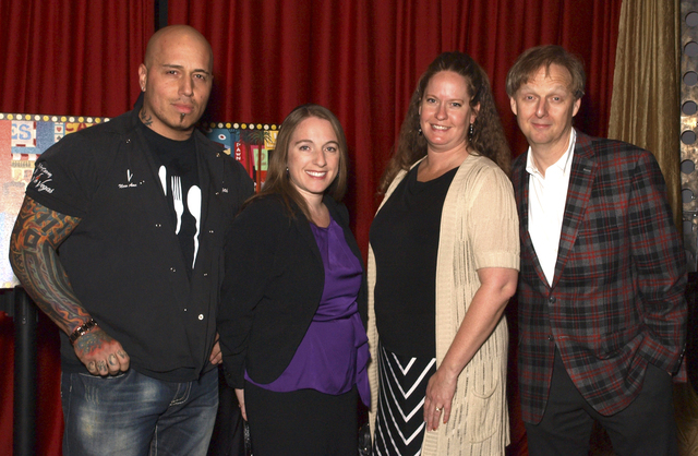 Chef Vic Vegas, from left, Jennifer Schuler, Lezlie Koepp and Mac King at the Las Vegas Academy gala (Marian Umhoefer/Las Vegas Review-Journal)