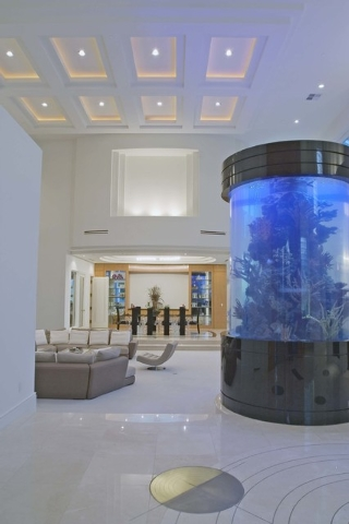 Courtesy photo A cavernous 30-foot-ceiling entry gives way to the home's formal living and dining room. A 60,000-gallon aquarium accentuates the area.