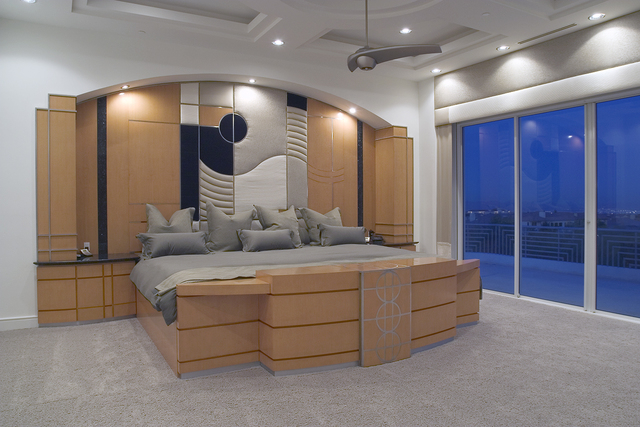 Courtesy photo The 1,058-square-foot master bedroom suite has floor-to-ceiling windows facing the Strip skyline and includes a spacious wrap-around balcony and bath spa along with a custom-made, b ...