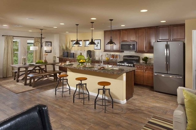Courtesy photo The Marcello model home at Ryland's Monteverdi townhome neighborhood in northwest Las Vegas features a kitchen with a breakfast nook.