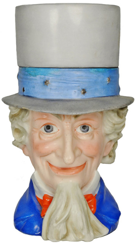 King Features Syndicate The hat comes off this Uncle Sam stein and his head can be filled with beer. This red, white and blue Schierholz example sold for $5,040 in 2014 at Fox Auctions of Vallejo, ...