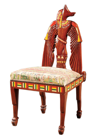 Cowles Syndicate This Unusual Chair Is In The Egyptian Revival Style. The  Carved Wooden Chair