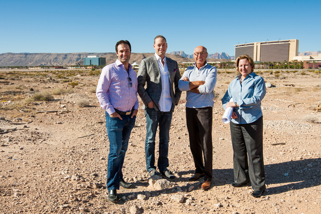 Courtesy photo Planning the commencement of construction on The Constellation, Downtown Summerlin's first residential project are, from left, Douglas Eisner, co-founder and managing director, Th ...