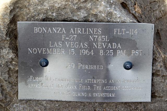 A memorial plaque is seen at the crash site of Bonanza Flight 114 about 15 miles southwest of McCarran International Airport Thursday, Nov. 13, 2014. (Sam Morris/Las Vegas Review-Journal)
