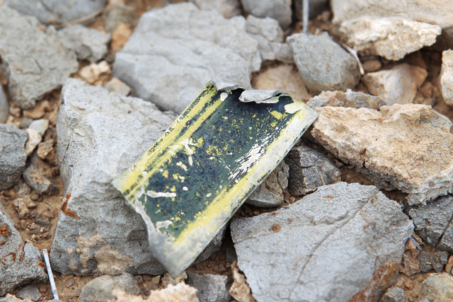 A piece of wreckage is seen at the crash site of Bonanza Flight 114 about 15 miles southwest of McCarran International Airport Thursday, Nov. 13, 2014. (Sam Morris/Las Vegas Review-Journal)