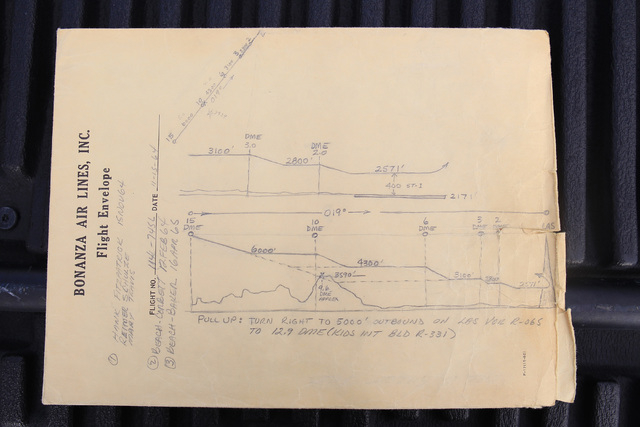 These are notes about the crash of Bonanza Flight 114 taken by investigators at the scene. (Courtesy of Scroggins Aviation)