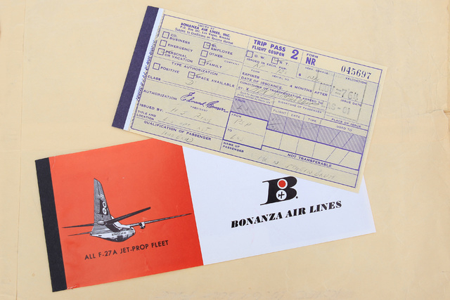 This is an example of the type of ticket that was issued by Bonanza Air Lines in the early 1960's. (Courtesy of Scroggins Aviation)