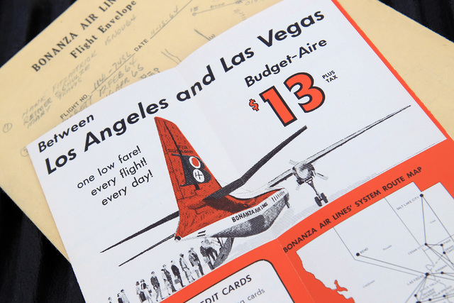 This is an advertising brochure and schedule from Bonanza Air Lines in the early 1960's. (Courtesy of Scroggins Aviation)