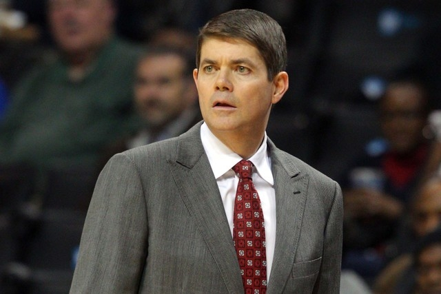 UNLV Runnin' Rebels head coach David Rice coaches against the Temple Owls during the second half at Barclays Center. UNLV defeated Temple 57-50 on Saturday in Brooklyn, N.Y. (Brad Penner/USA TODAY ...