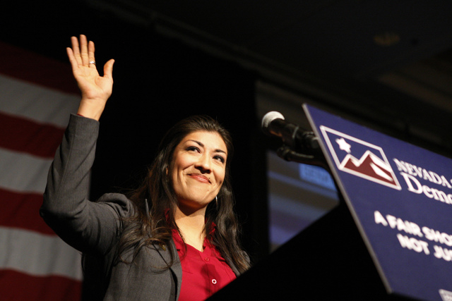 Lieutenant governor candidate Assemblywoman Lucy Flores, D-Las Vegas, gives her concession speech after losing to Sen. Mark Hutchison, R-Las Vegas, during the election watch party for the Nevada S ...