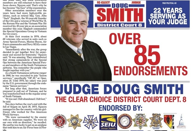 Judge Doug Smith campaign ad in the Review-Journal, Monday, Nov. 3, 2014.