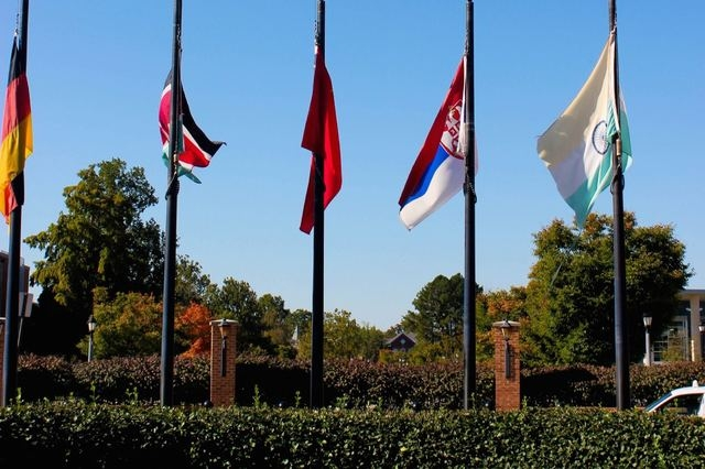 Flags fly at Delaware State University in a file photo. (Delaware State University/Facebook)