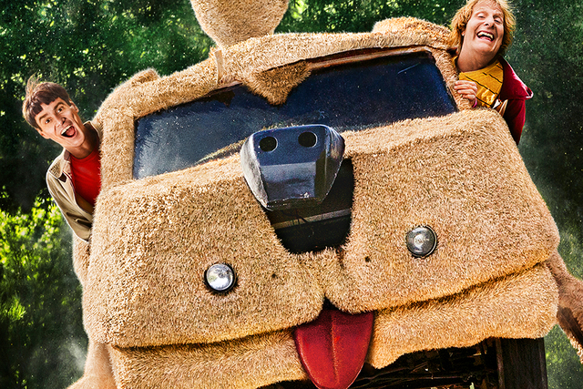 """Jim Carrey, left, and Jeff Daniels are shown in the Mutt Cutts van in """"Dumb and Dumber To."""" (Courtesy)"""