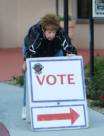Poll worker Judy Bisetti puts up election sign Tuesday, Nov. 4, 2014, at Las Ventanas Community Center, 10401 W. Charleston Blvd. The polls will be open until 7 p.m. (Bizuayehu Tesfaye/Las Vegas R ...