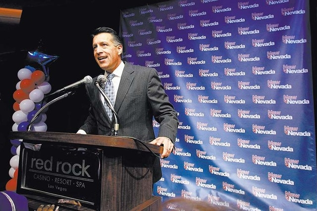 Governor Brian Sandoval speaks during the Nevada Republican Party election night party Tuesday, Nov. 4, 2014 at Red Rock Resort. (Sam Morris/Las Vegas Review-Journal)