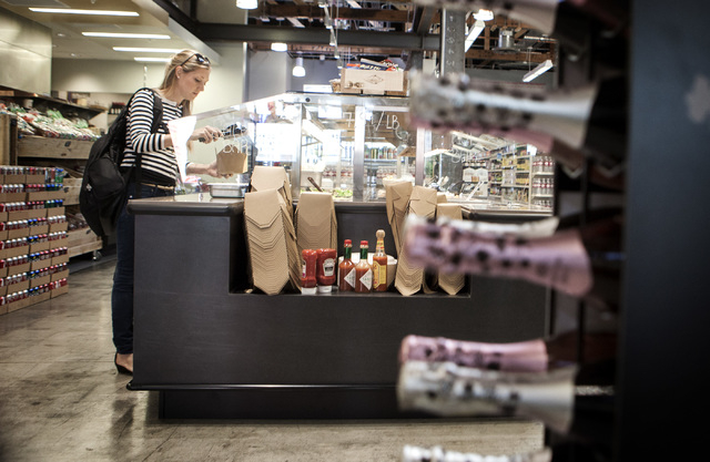 A hot and cold salad bar at The Market, 611 East Fremont, on Wednesday, Oct. 29,2014. The Downtown Project recently opened the grocery store and cafe. (Jeff Scheid/Las Vegas Review-Journal)
