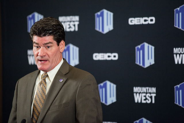 Mountain West Commissioner Craig Thompson speaks during the Mountain West Conference football media day at the Cosmopolitan hotel-casino Tuesday, July 22, 2014, in Las Vegas. (Chase Stevens/Las Ve ...