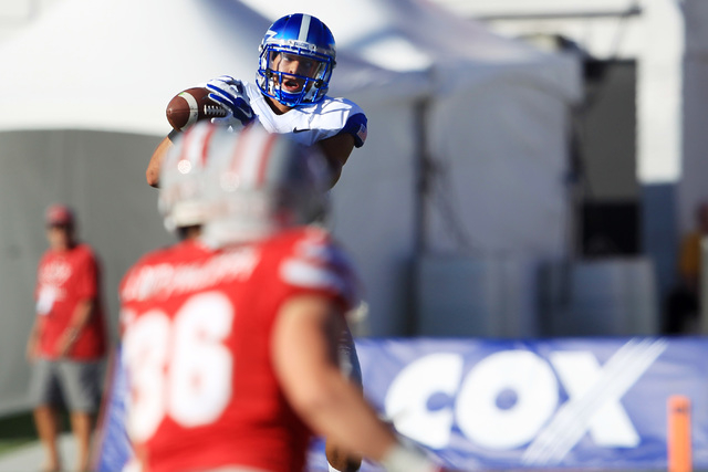Wide open Air Force wide receiver Jalen Robinette (9) pulls in a pass before running it in for a touchdown during the first half of their Mountain West Conference game against UNLV Saturday, Nov.  ...
