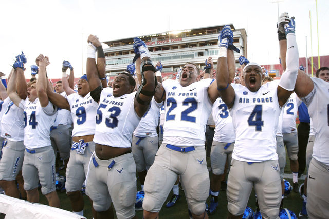 Air Force players cheer after defeating UNLV in their Mountain West Conference game Saturday, Nov. 8, 2014 at Sam Boyd Stadium. Air Force won 48-21. (Sam Morris/Las Vegas Review-Journal)